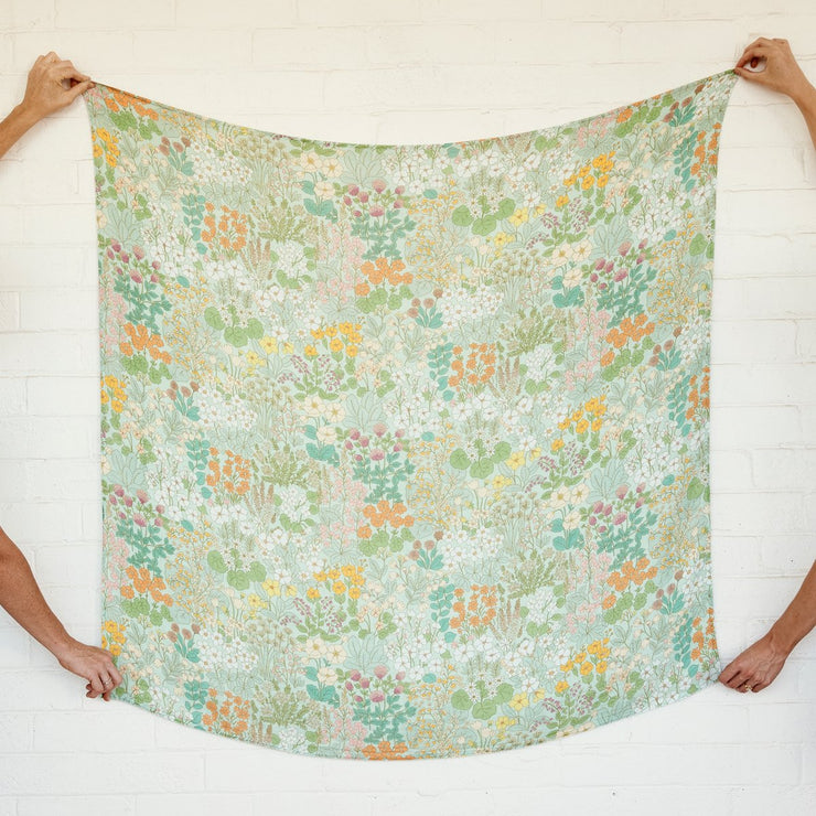 Mint Meadow Bamboo and Organic Cotton Swaddle