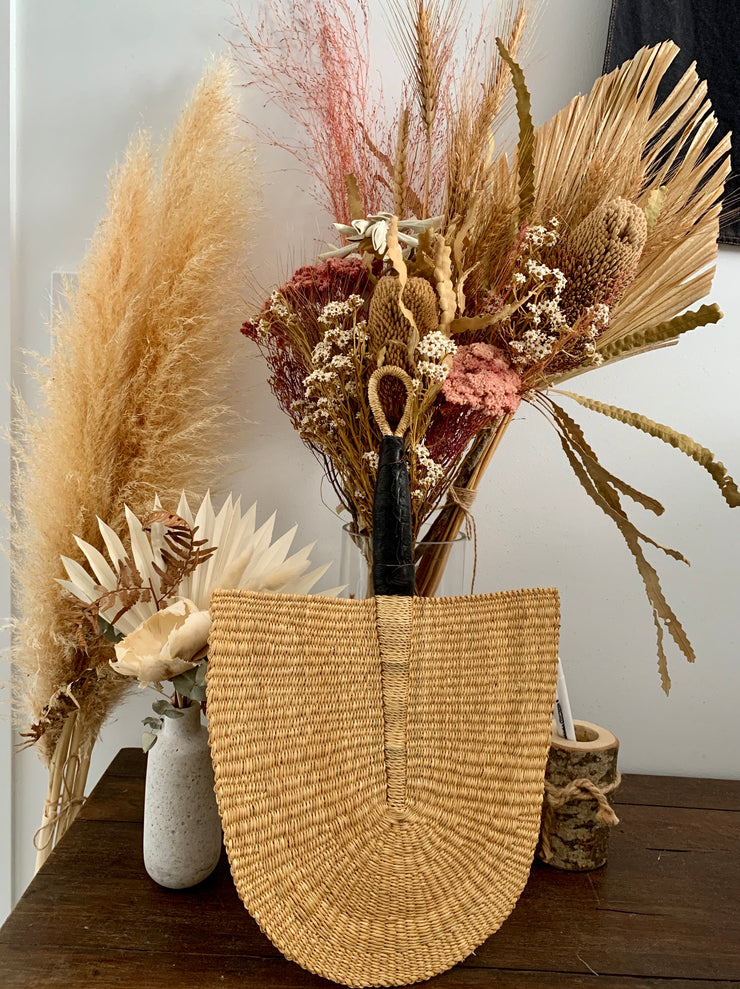 Elephant Grass Fan (Black Handle)