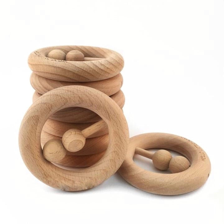 Raw Beech Wood Rattle/Teether