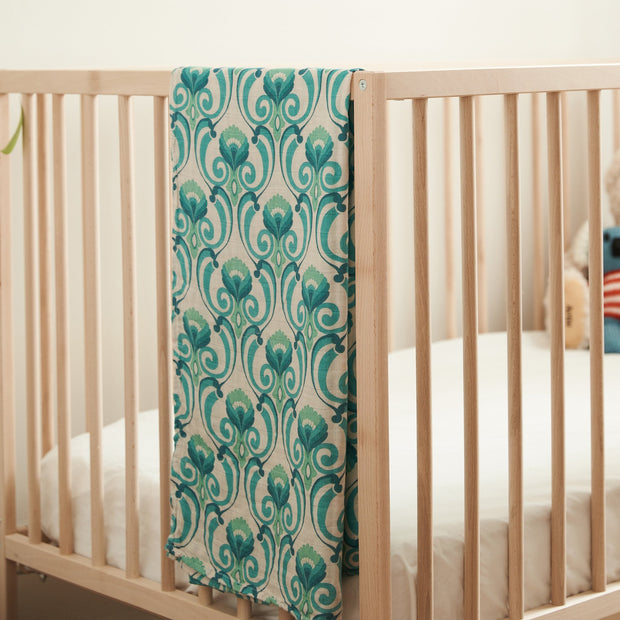 Ride the Wave (Teal) Bamboo and Organic Cotton Swaddle
