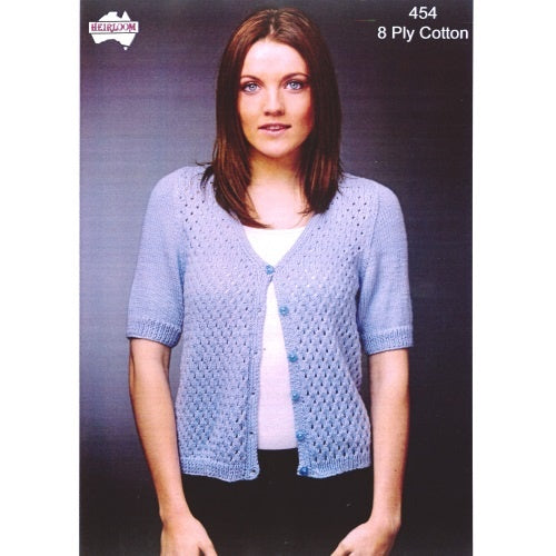 2c2466cc5ca88 454 Heirloom 8 Ply Cotton - Short Sleeve Cardigan — Twisted Threads AU