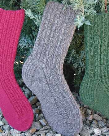 AC-85 Chain of Hearts Socks - Fingering, Sport/DK & Worsted wt.