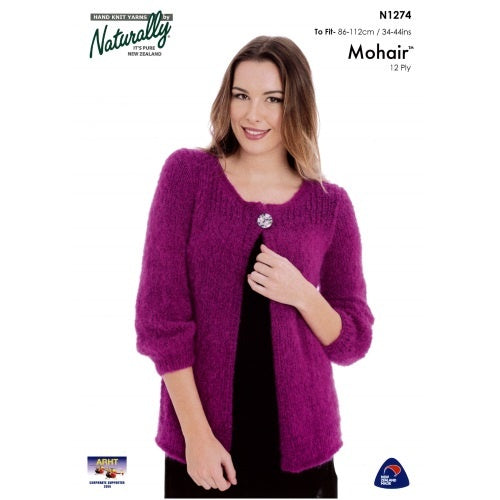 N1274 Mohair 12 Ply - Jacket with 3/4 Sleeves