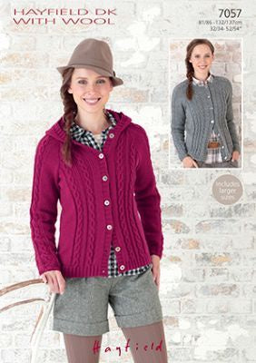 7057 Hayfield DK -Round Neck and Hooded Raglan Jackets