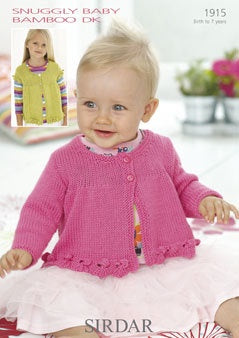 1915 Snuggly Baby Bamboo DK - Baby and Girls Round Neck Cardigans