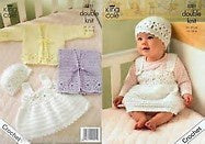3251 DK - Crochet Cardigan, Waistcoat, Pinafore Dress and Hat