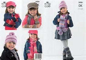 3426 DK - Children's Scarves, Legwarmers, Wrist Warmers, Mitts and Hat