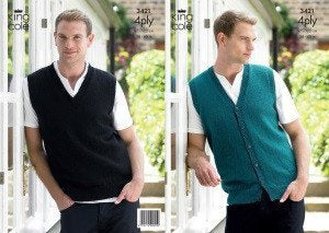 3421 Knig Cole 4 Ply - Slipover and Waistcoat