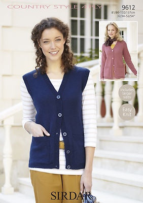 9612 Country Style 4 Ply - Cardigan and Waistcoat