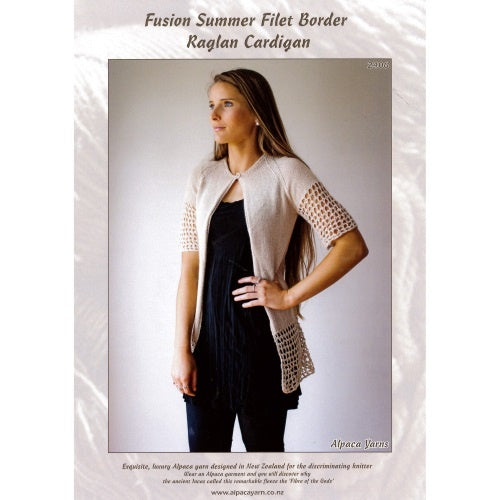 2406 Fusion Summer Filet Border Raglan Cardigan