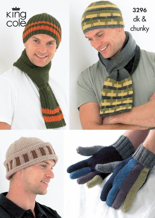 3296 Knig Cole DK & Chunky - Mens Hats, Scarves and Gloves