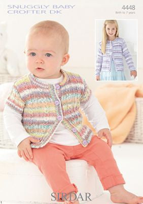 4448 - Snuggly Baby Crofter DK - Girls Round Neck Cardigans