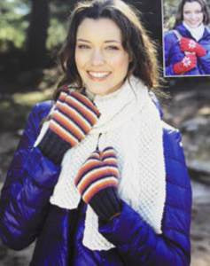 9617 DK- Scarf, Fingerless Gloves and Mittens