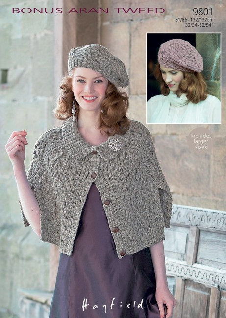 9801 Hayfield Aran - Cape and Beret