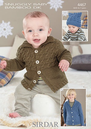 4467 Snuggly Baby Bamboo DK - Cardigans and T-Bag Hat