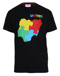Nigeria United Print T-shirt - Black