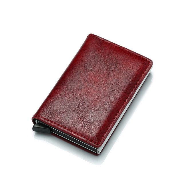 RFID Blocking, Genuine Leather Credit Card Wallet Small Compact