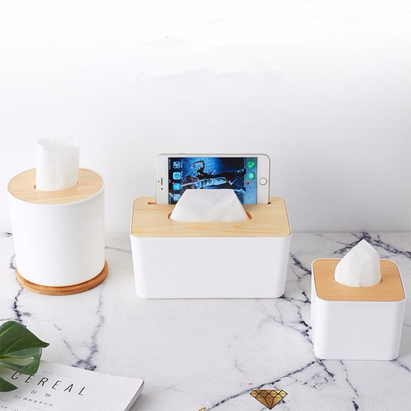 High Quality Tissue Box With Phone Shelf Holder