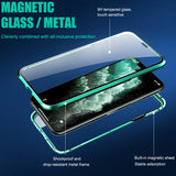 Metal magnetic iPhone double-sided tempered glass cover case