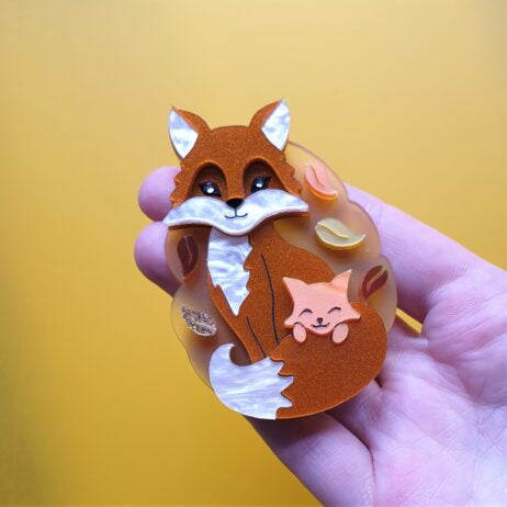 Cherryloco : Autumn : FOX AND CUB BROOCH