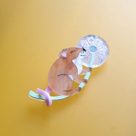 Cherryloco : Autumn : Make a Wish mouse brooch (PRE-ORDER, NOT IN STOCK, DUE MID MAY)