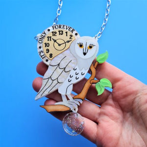 Cherryloco : It's only forever white barn owl brooch or necklace (PRE-ORDER, NOT IN STOCK, DUE EARLY MAY)