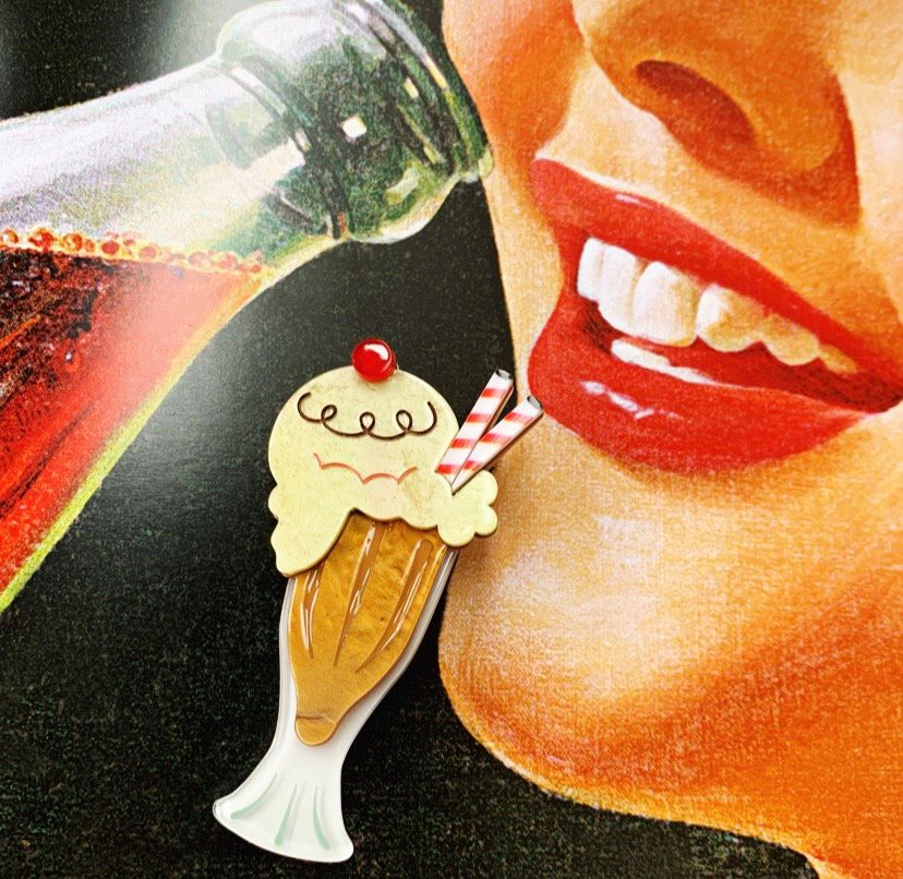 Lipstick & Chrome : Float On Root Beer Float Pin Brooch