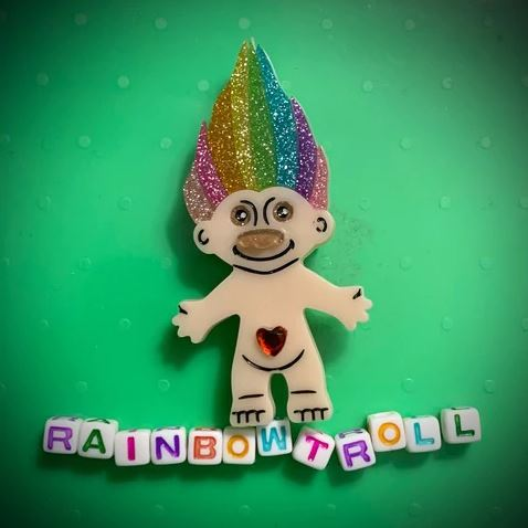 Lipstick & Chrome : Candy Doll Club : Rainbow Troll Doll Brooch