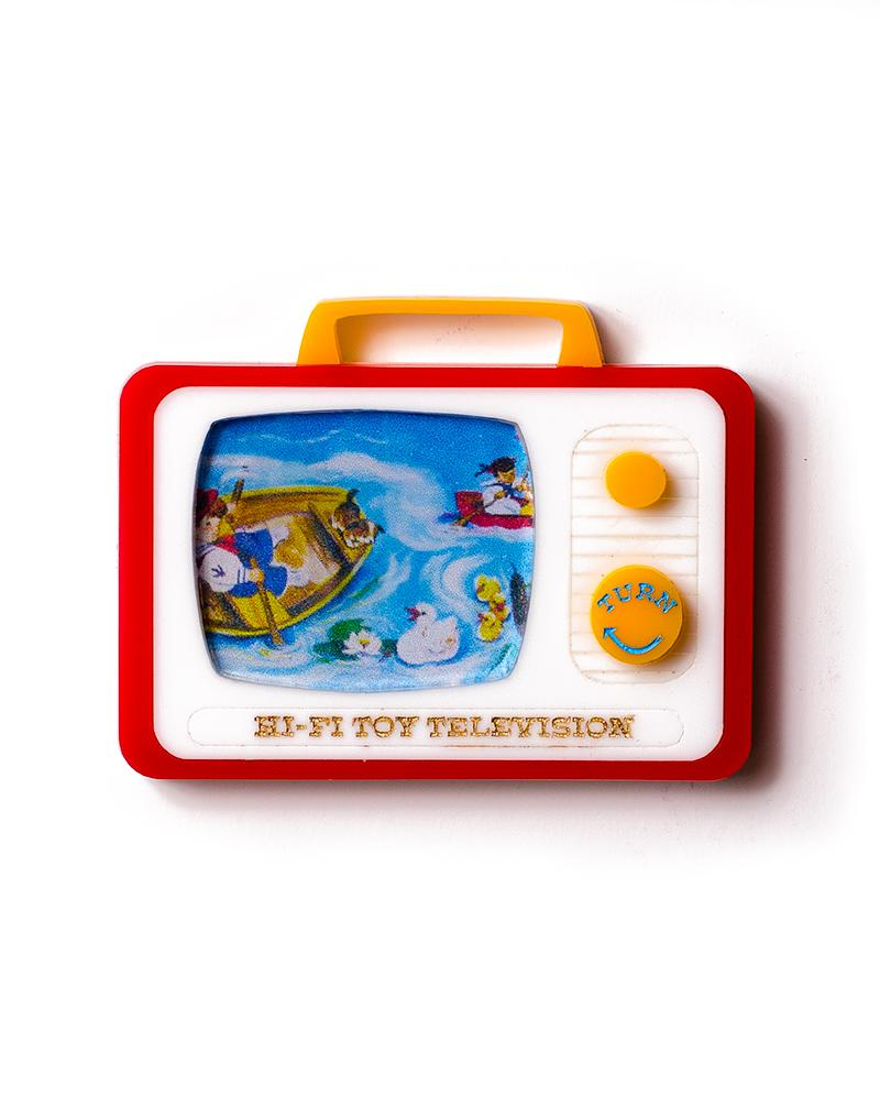 Martinis & Slippers : HiFi Toy Television Brooch