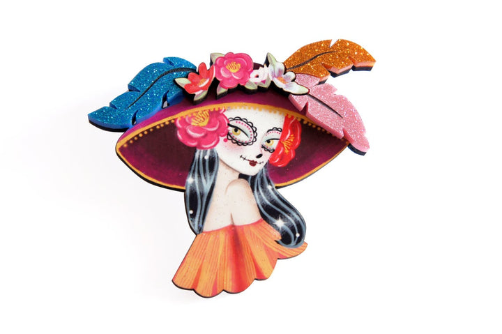 LaliBlue : Mexican Catrina Brooch  (PRE-ORDER DUE LATE JULY)