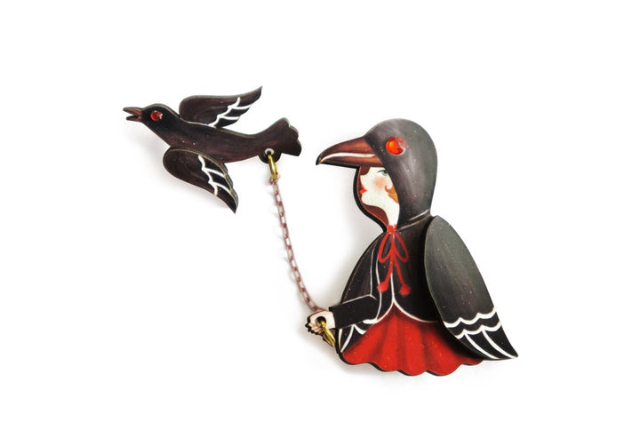 LaliBlue : Halloween : Crow girl brooch