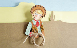 LaliBlue : Cowgirl pin up brooch