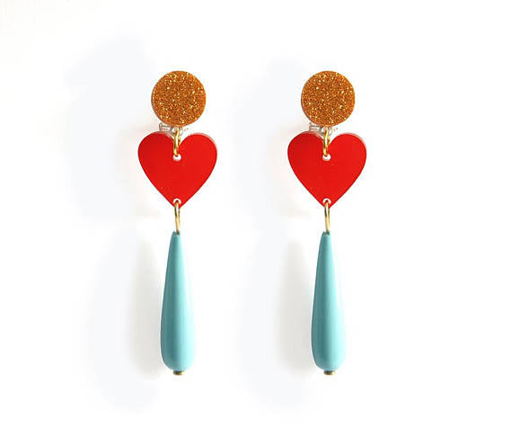 LaliBlue : Delirium of Love Earrings (Red / Turquoise)