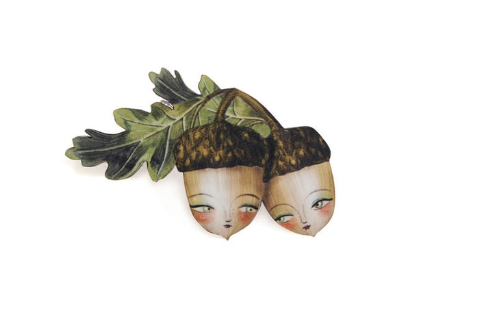 LaliBlue : Acorn Brooch  (PRE-ORDER DUE LATE APRIL)