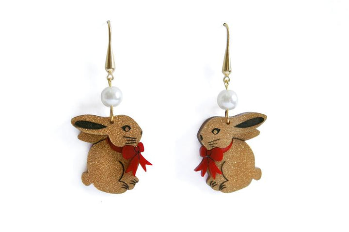 LaliBlue : Easter : Chocolate Easter Bunny Earrings  (PRE-ORDER DUE LATE APRIL)