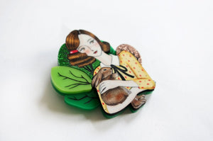 LaliBlue : Easter : Girl with bunny Brooch