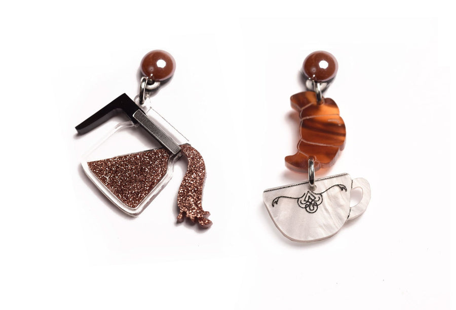 LaliBlue : Classic Films : Coffee Earrings (PRE-ORDER : not in stock, Due Early May)