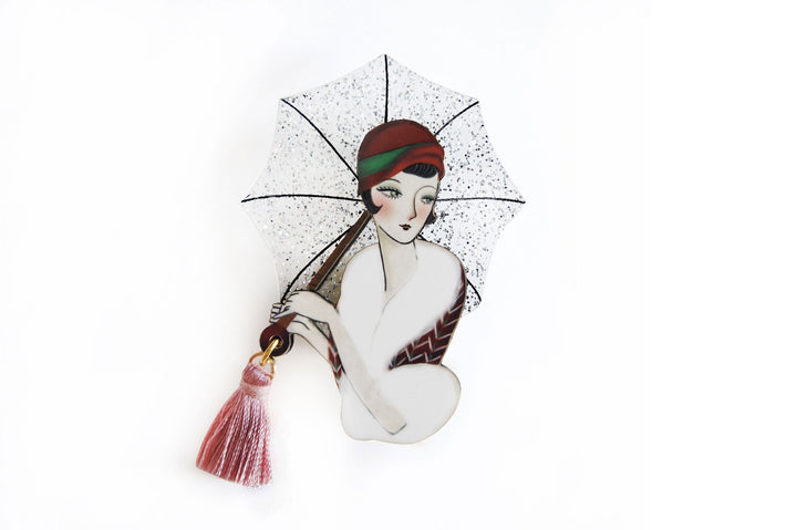 LaliBlue : Girl with umbrella brooch  (PRE-ORDER DUE LATE APRIL)