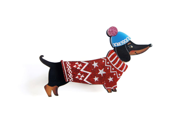 Christmas : Dachshund Dog Brooch