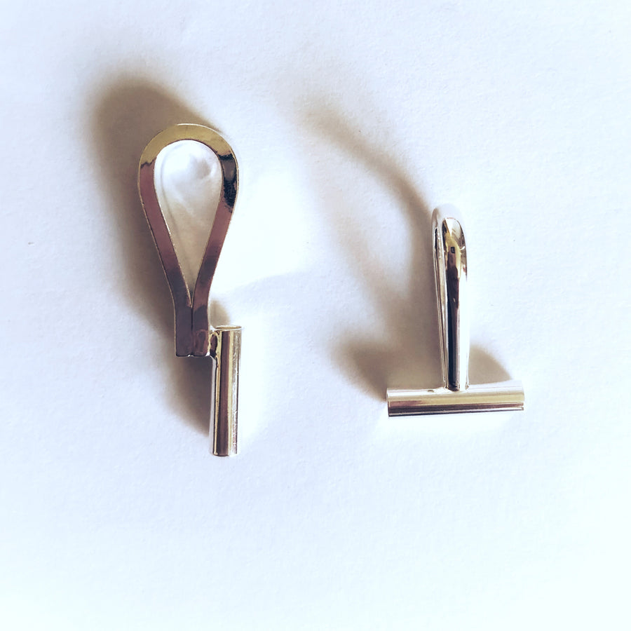 Silver plated Brooch Converters (Pair)