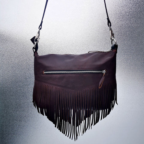 Sample Sale! Brown Fringed Leather Shoulder Bag - Love Removal Machine