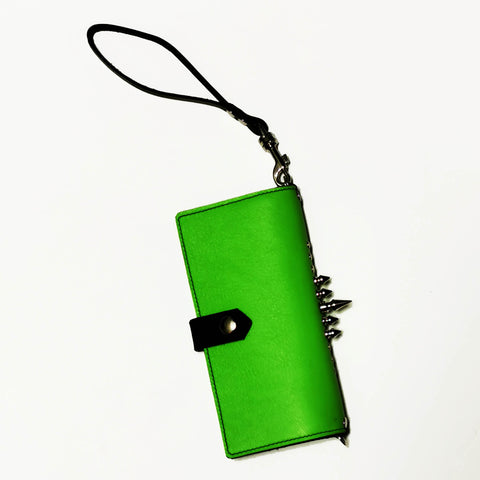 Acid Green Spiky Spiky leather cell phone clutch / wallet