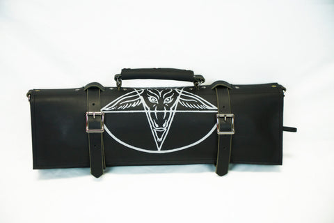 Leather Knife Roll with Baphomet Print - Knife Bag