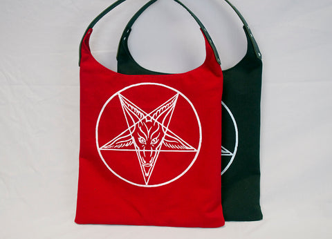 Handmade in Canada. Screen printed Baphomet tote bag purse