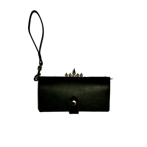 Spiky Spiky leather cell phone wallet / clutch