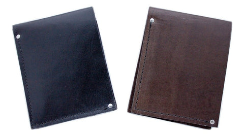 handmade leather mens bifold wallets in brown and black with embossed H&J logo made in Calgary