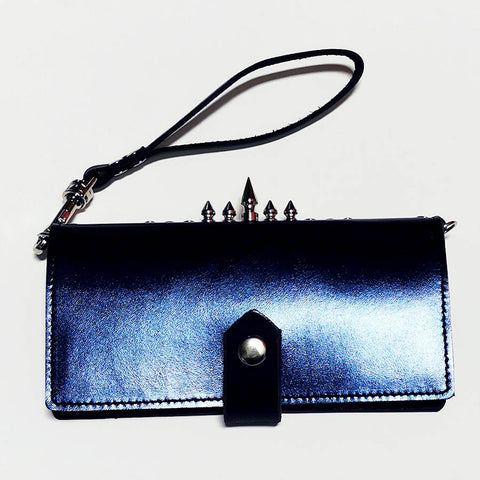Chrome Navy Blue Spiky Spiky leather cell phone clutch / wallet