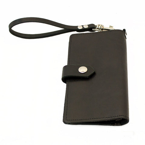 Black Leather Cell Phone Wallet / Clutch