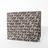 hand stitched leather wallet, with the word 'fuck' printed on it in a repeating pattern.