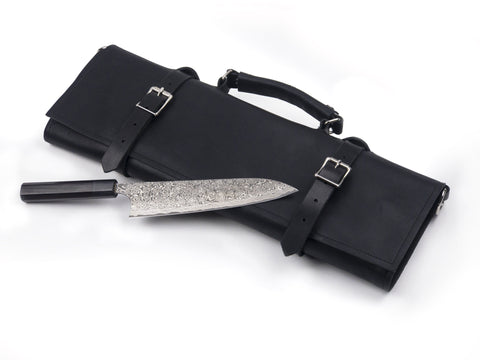 Horace and Jasper handmade leather chef knife roll in black with Japanese kitchen knife.